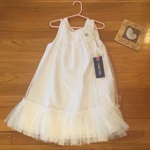 White Cherokee Girls Dress 6/6x Flower NWT